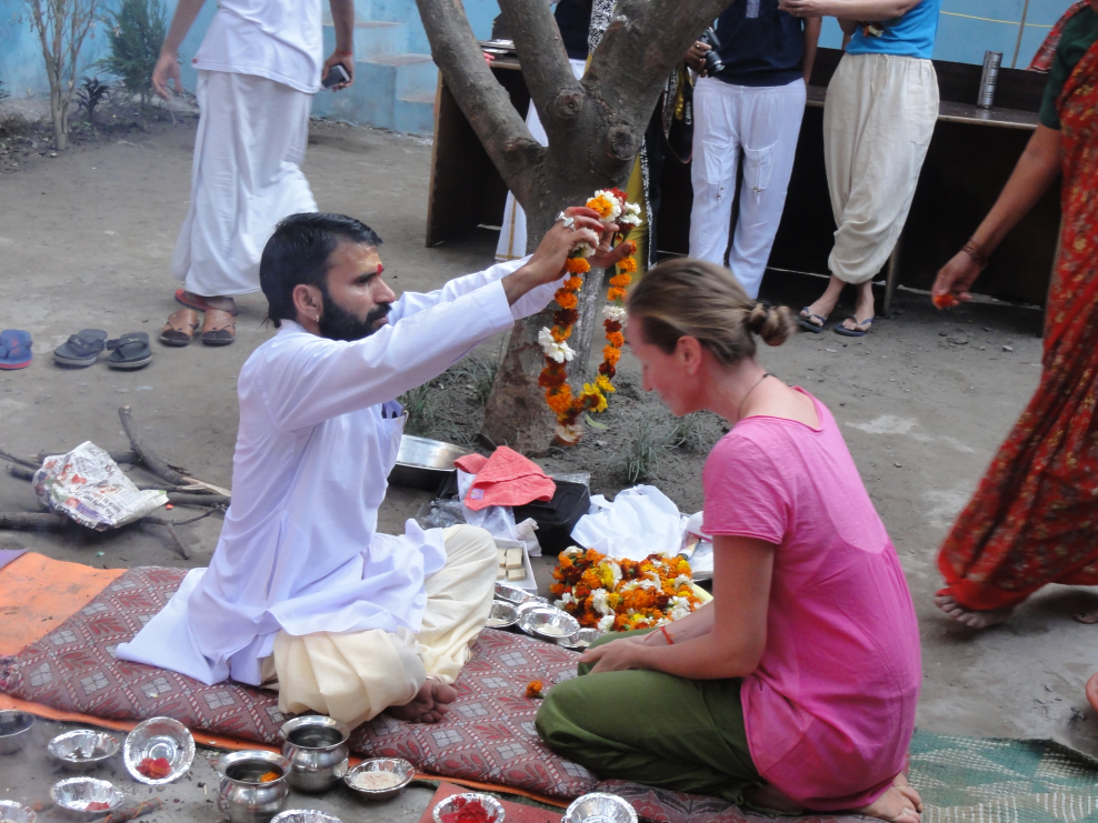 Me at Rishikul Yogshala's Welcome ceremony