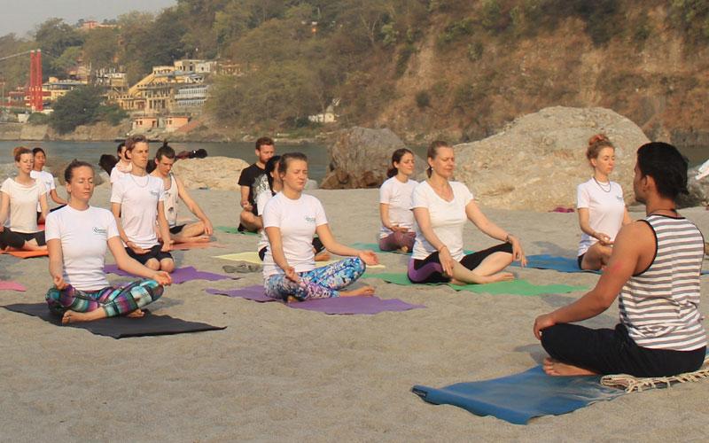 Yoga at ganga river