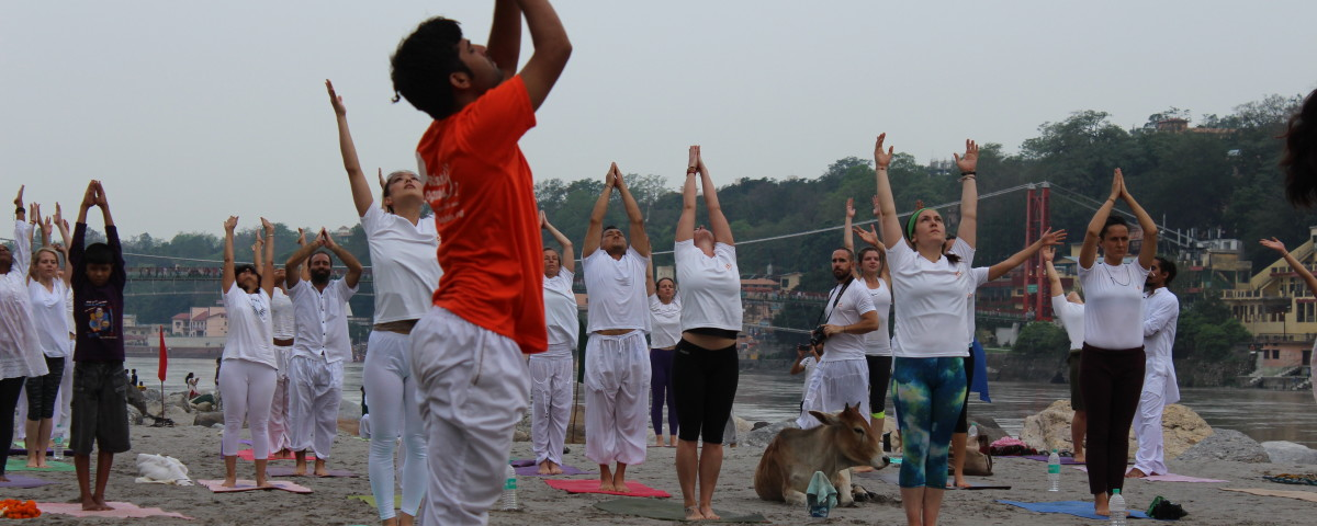 sun salutation at ganga beach