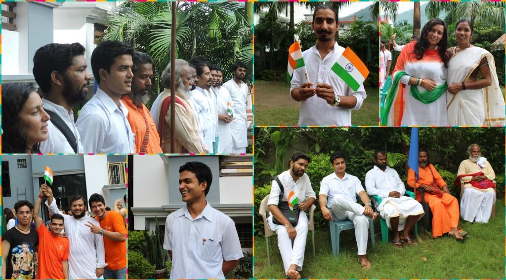 Rishikul Yogshala teacher during independence day celebration