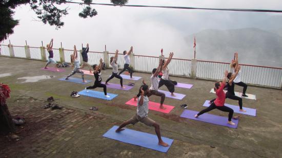 Rishikul yogshala students yoga at kujapuri temple visit