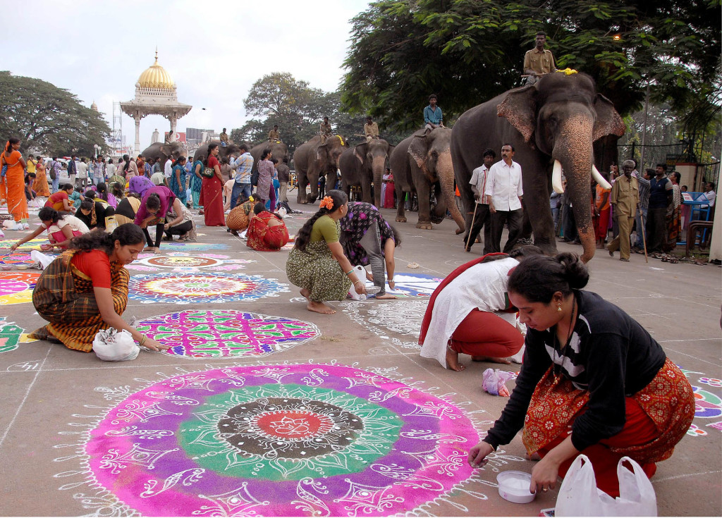 Rangoli Making on Diwali Celebration