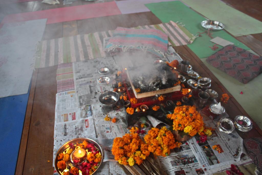 fire ceremony in rishikul yogshala