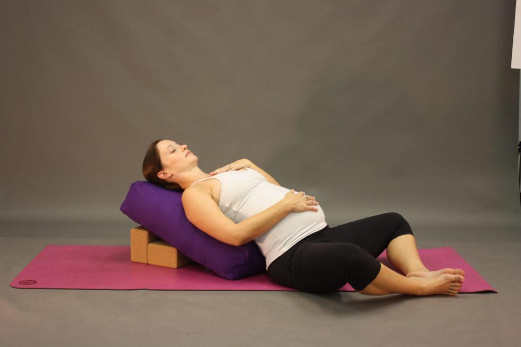 Reclined Bound Angle Pose (Supta Bandha Konasana) with Bolsters