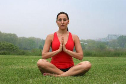 Easy Pose with Palms Pressed (Sukhasana)