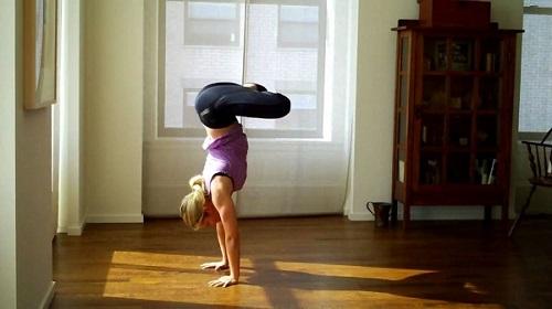 Handstand in Lotus Pose (Adho Mukha Vrksasana in Padmasana)